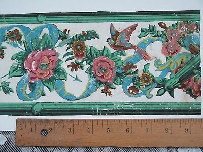 """Antique 18thC French Domino Paper Hand Blocked Birds, Floral, Bows~17""""L  X  6""""W"""