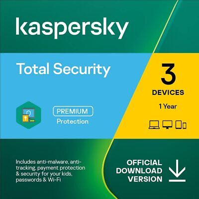 Kaspersky Total Security 2018 for 3 PC / Devices 1 Year Download Key Emailed