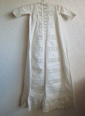 Antique Whitework Christening Dress, Tiny Pleating & Embroidery c1890-1900