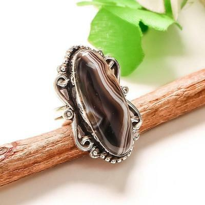 "Gray Botswana Agate  Handmade Jewelry Ring ""7.5"""