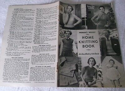 "ORIGINAL VINTAGE 1950s ""HOME KNITTING BOOK ""  WOMAN'S WEEKLY  BOOKLET No. 2 ."