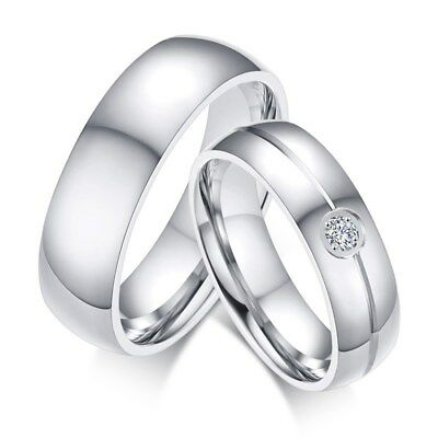 316L Stainless Steel Silver Bands Promised Men's Women's Wedding CZ Couple Rings