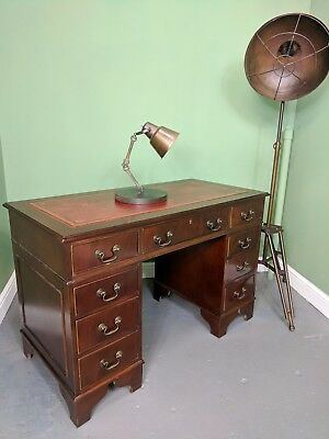 An Antique Style Mahogany Leather Topped Captains Desk~Delivery Available~