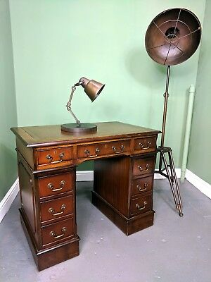 An Antique Style Small Mahogany Twin Pedestal Captains Desk ~Delivery Available~