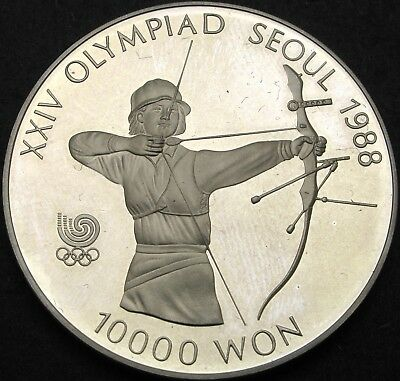 SOUTH KOREA 10000 Won 1987 Proof - Silver - Olympics '88 Archery - 763 ¤