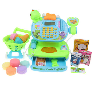 Electronic Cash Register Toy Pretend Supermarket Cashier Shopping Cart Props