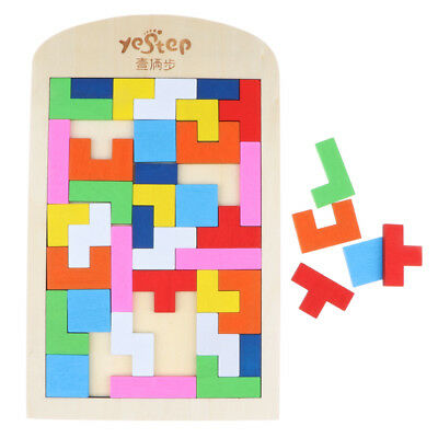 Colorful Wooden Tetris Jigsaw Puzzle Brain Teaser Game Kids Educational Toy