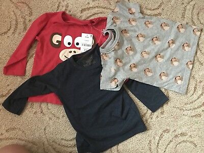 3 Pack Boys T-shits/tops Next 12-18 Months New With Tags Monkey