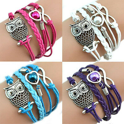 Dr7 Eg_ Infinity Owl Heart Pearl Friendship Leather Charms Multilayer Bracelet C