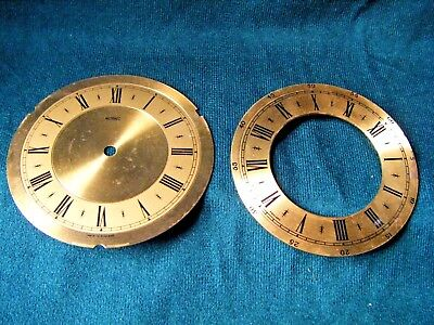 "Brass clock faces/dials X2  ""Metamec"" and a chapter ring"