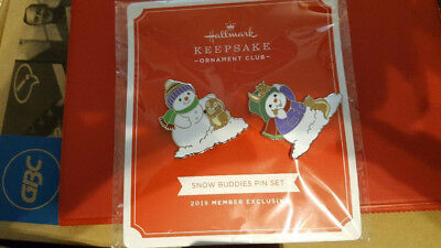 2018 Hallmark Snow Buddies Pin Set - Ornament Club Club Member Exclusive - New