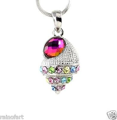 Sea Shell Made With Swarovski Crystal Ocean Seashell Multi Color Red Pendant