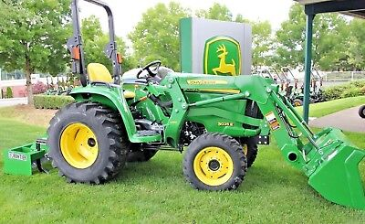 John Deere 3025E with Loader, Box Blade, and Tire Ballast