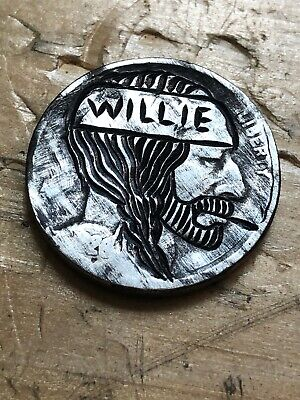 Willie Nelson Old Fashioned Style Hobo Nickel Hand Engraved Coin Art