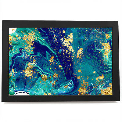 AB1705 Blue Teal Yellow Cool Modern Abstract Canvas Wall Art Large Picture Print