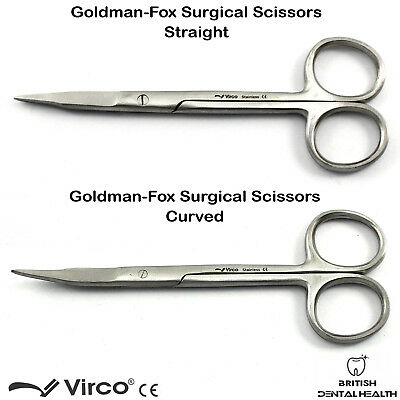 GOLDMAN FOX GUM Scissors CURVED or STRAIGHT 13.5CM Surgical Dental Scissors CE
