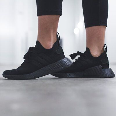 best sneakers c665d 3dde2 ADIDAS ORIGINALS NMD R2 Triple Black Shoes Womens Adidas Boost Sneakers NEW