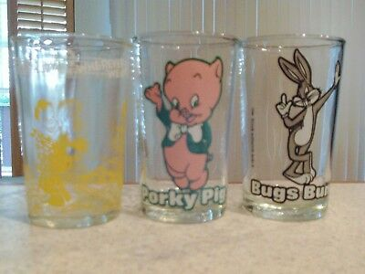 3 Vintage Welch's Jelly Glasses 1953 Howdy Doody, 1976 Warner Bros Porky Pig and