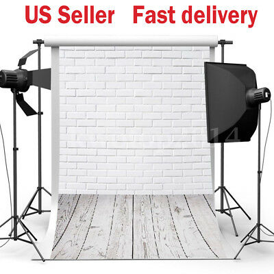 3x5FT White Brick Wall Wood Floor Photography Backdrop Background Studio Props