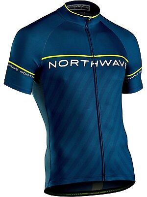 Northwave Blue-Yellow Fluo 2018 Logo 3 Short Sleeved Cycling Jersey