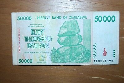 Zimbabwe $50,000.00 Banknote. Shifted Border. 007 starting serial number
