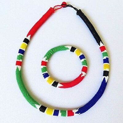 African Zulu Beaded Necklace And Round Bracelet Set - South African Flag - Gift