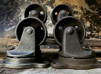 FACTORY CART CASTERS, Industrial Coffee Table Wheel Cast Iron Metal Vtg Antique