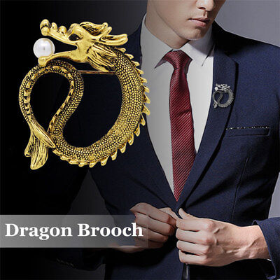Vintage Men Chinese Dragon Pearl Brooch Pin Lapel Suit Collar Badge Jewelry Gift