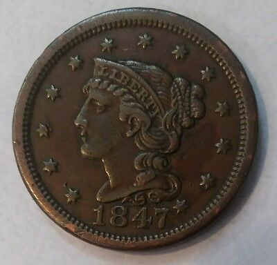 1847 Braided Hair Large Cent - U.S. Type Coin