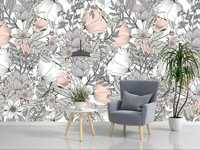 Grey Flowers Removable Wallpaper Mural Floral Peel Stick