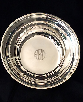 """Gorham Sterling Silver serving bowl, circa 1940, 10+ounces, monogrammed, 8"""" dia"""