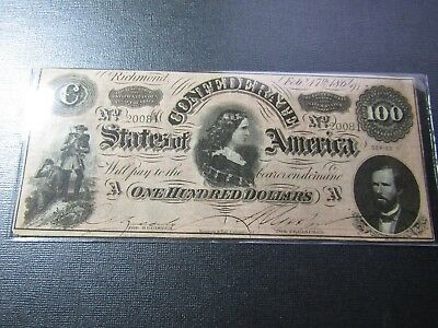 "1864 $100 Confederate States Note #10 - ""Lucy H Pickens"" - Uncirculated"