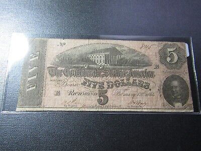 "1864 $5 Confederate States Note #11 - ""Confederate Capitol Richmond VA"" - F"