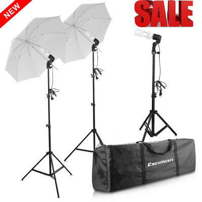 Photo Studio Umbrella ​Continuous Lighting Light Stand Kit + 45W Lamp​ UK Plug