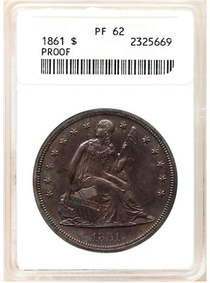 1861 Seated Liberty Dollar Proof Pf 62