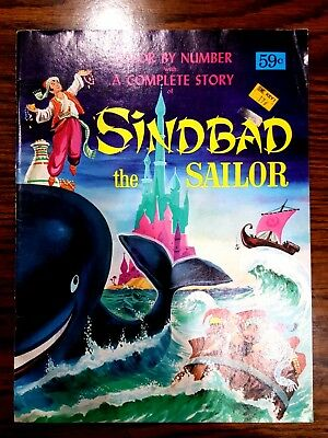 Vintage Color By Number Book With Complete Story Of Sinbad The Sailor New Unused