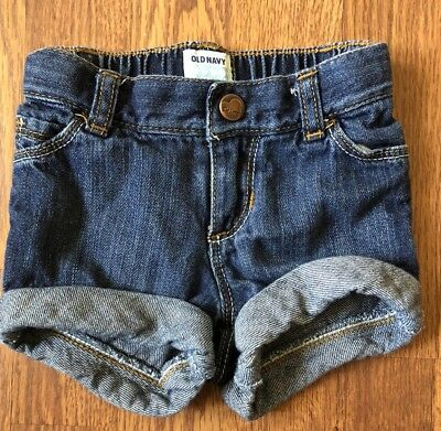 Baby Girls Old Navy Jean Shorts Roll Up Size 18-24 Months Elastic Waist