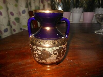 Vintage hand made 24ct ? Gold plated pottery vase jug Greek Blue Gilding