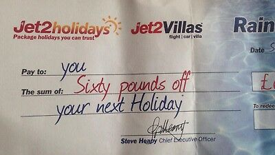 Jet 2 Holidays Rain Cheque £60 Off  Buy One Get 3 Free