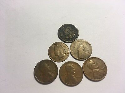 19th / early 20th century antique Copper penny collection 1800's 1900's OLD coin