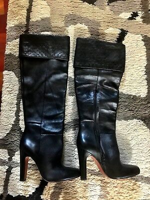 Coach black leather dress boots
