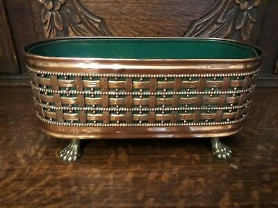 Vintage Copper & Brass Flower Trough Planter With Claw Feet