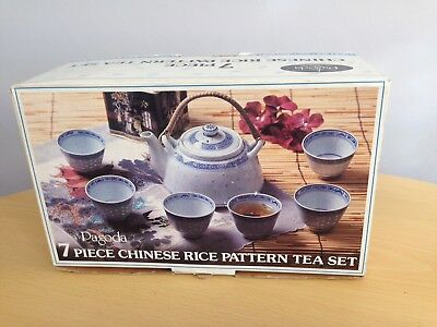 Pagoda 7 Piece Chinese Rice Pattern Tea Set Vintage By Tienshan 1980's Boxed.
