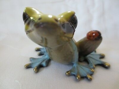 Barry Stein Signed Bronze Frog with Lady Bug Sculpture Bugsy 13/1000 2004