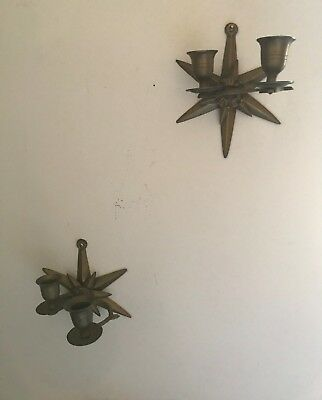 Vintage wall mounted star shaped candleholders