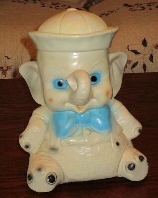 Vintage Carnival Chalkware Cute  Elephant With Sailor Hat Still Bank