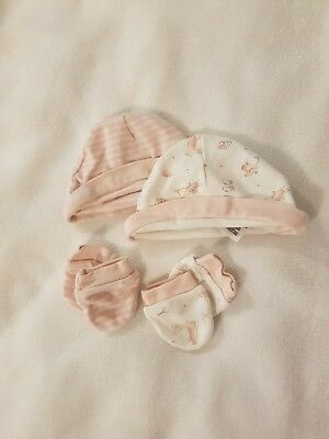 2 X Mothercare Sets Of Baby Girl Hats And Scratch Mitts Up To 1 Month