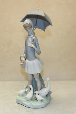 Lladro Figurine, 4510 Girl w/ Umbrella & Geese, 10.5H - $355 V  NO BOX