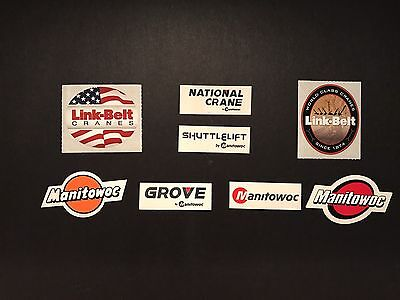 Lot Of 8 Manitowoc Grove Link Belt  Shuttlelift National  Crane Hardhat stickers