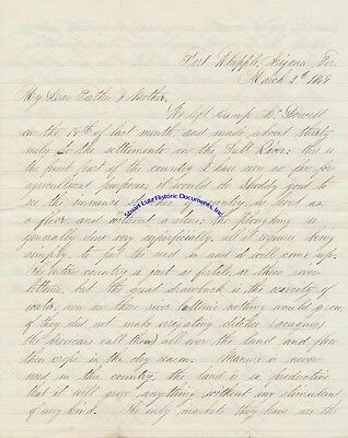 Arizona letter 1869 re details of mining, owning gold mine, farming, ruins etc.